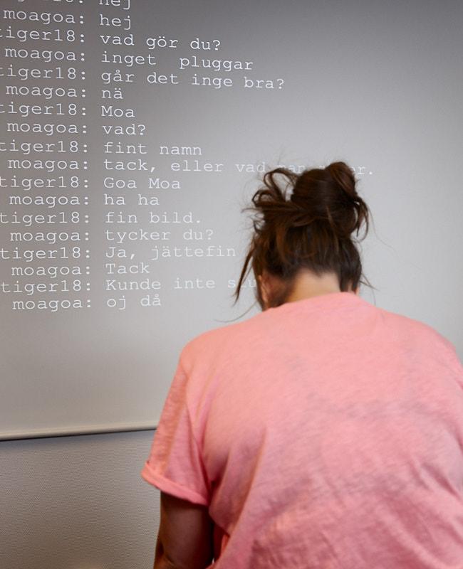 """Bild från Unga Romas föreställning """"Fångad i ett nätverk"""" med Emm Davin."""